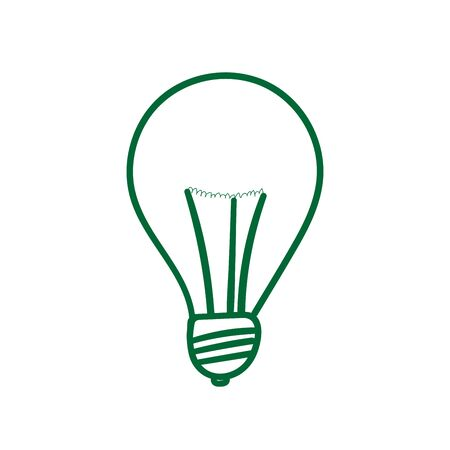 green light bulb: Lightbulb icon. Green light bulb sign, isolated on white background. Symbol of idea, innovation, creative concept, energy. Doodle drawing style. Vector illustration