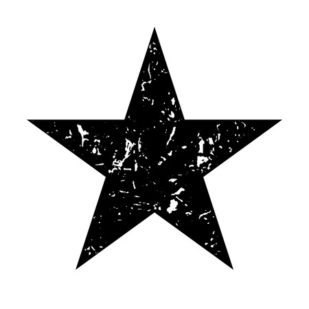 Star icon grunge texture. Vintage retro style. Design element. Black-dirty silhouette, isolated on white background. Grungy artistic template. Distressed symbol. Paint brush image. Vector illustration
