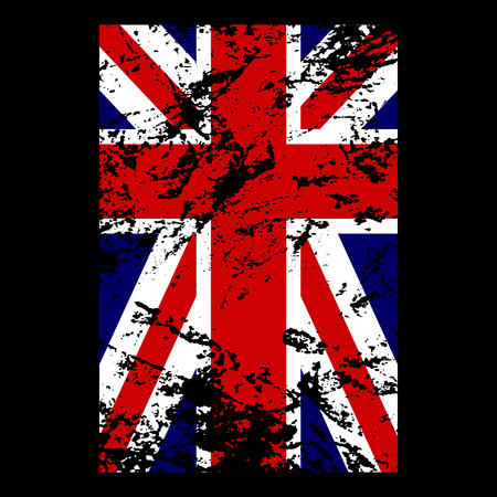 British flag t shirt typography graphics. Blue, red, white national design, isolated on black background. Symbol of England, Britain, United Kingdom. Template apparel, card, poster Vector illustration