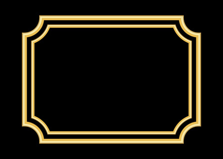 Gold frame. Beautiful simple golden design. Vintage style decorative border, isolated on black background. Deco elegant art object. Empty copy space for decoration, photo, banner. Vector illustration. Stock Illustratie
