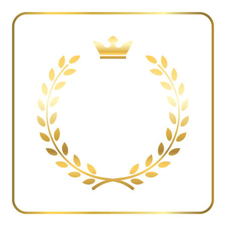 Gold laurel or wheat wreath icon, symbol of victory, achievement and grain, natural food. Golden design element for medals, awards, logo. Silhouette, isolated on white background. Vector illustration Ilustração