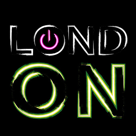 london night: T shirt typography graphics London city. With neon switch off button. Light urban modern design. Bright and glow text. Symbol of England, Britain, United Kingdom. Template apparel. Vector illustration