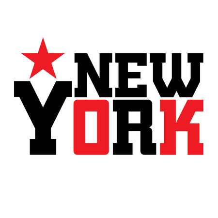 black white red: T shirt typography graphics New York. Athletic style NYC. Fashion stylish print for sports wear. Black white red emblem. Template for apparel, card, label, poster. Symbol big city. Vector illustration