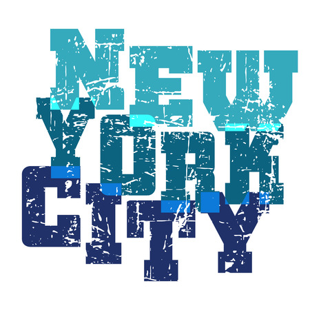 athletic wear: T shirt typography graphics New York. Athletic style NYC. Fashion american stylish print for sports wear. Blue on white emblem. Template for apparel, card, poster. Symbol big city. Vector illustration