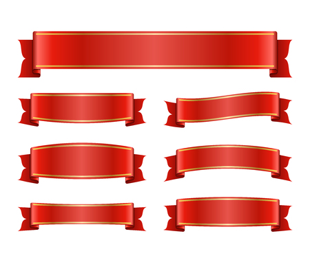 blanks: Red ribbons set. Satin blank banners collection. Design label scroll blanks element, isolated on white background. Empty template for greeting or advertising. Symbols decoration. Vector illustration. Illustration