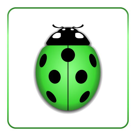 lady bug: Ladybug small icon. Green lady bug sign, isolated on white background. 3d volume design. Cute colorful ladybird. Insect cartoon beetle. Symbol of nature, spring or summer. Vector illustration Illustration