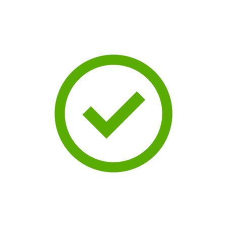 目盛記号要素。緑色のチェック マーク アイコンは、白い背景で隔離。シンプルなグラフィック デザイン。投票、決定、ウェブの円図形 [ok] ボタン。正しいチェック、承認されたベクトル図の記号 写真素材 - 61775461