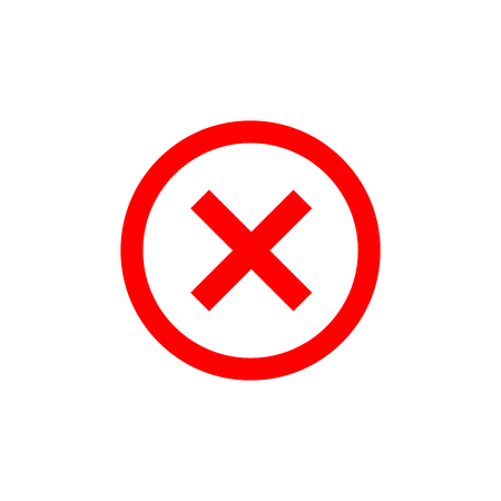 Cross sign element. Red X icon isolated on white background. Simple mark graphic design. Round shape button for vote, decision, web. Symbol of error, check, wrong and stop, failed. Vector illustration Illustration