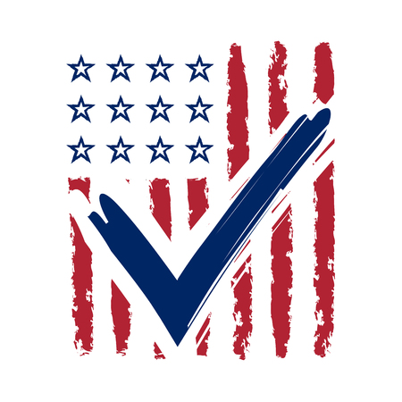 Presidential election USA sign. Blue and red design on white background for voting campaign. Vote patriotic mark for poster, icon, sign. Symbol of political, patriotism. Vector illustration