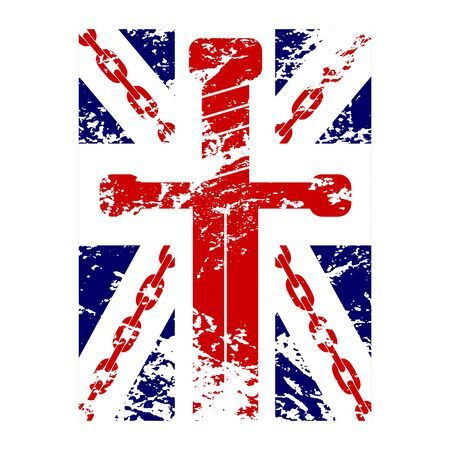 British flag t shirt typography graphics. Blue, red, white design with chain, sword on white background. Symbol of England, Britain, United Kingdom. Template apparel, card, poster. Vector illustration Illustration