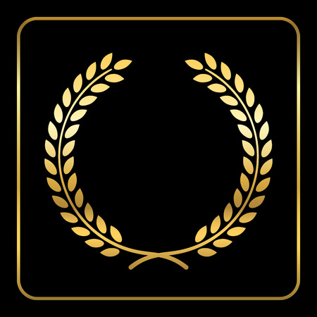 elite sport: Gold laurel wreath. Symbol of victory and achievement. Design element for decoration of medal, award, coat of arms or anniversary. Golden leaf silhouette on black background. Vector illustration.