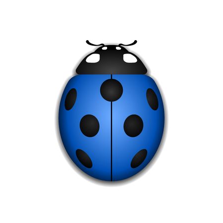 lady bug: Ladybug small icon. Blue lady bug sign, isolated on white background. 3d volume design. Cute colorful ladybird. Insect cartoon beetle. Symbol of nature, spring or summer. Vector illustration