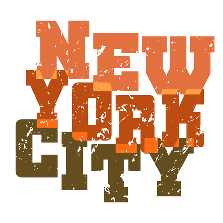 T shirt typography graphics New York. Athletic style NYC. Fashion american stylish print for sports wear. Color on white emblem. Template for apparel, card, poster. Symbol big city Vector illustration