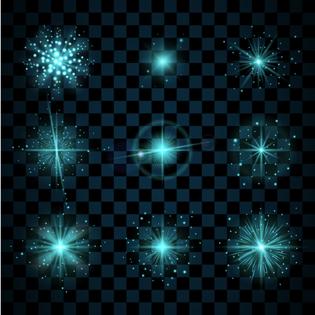 scintillation: Blue shine stars with glitters, sparkles icons set. Effect twinkle, glare, scintillation element sign, graphic light. Transparent design elements dark background. Varied template. Vector illustration