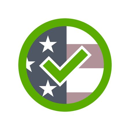 Presidential election USA sign. Green, blue and red design on white background for voting campaign. Vote patriotic mark for poster, icon, sign. Symbol of political, patriotism. Vector illustration Illustration