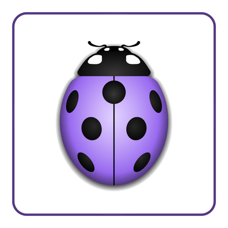 lady bug: Ladybug small icon. Lilac lady bug sign, isolated on white background. 3d volume design. Cute colorful ladybird. Insect cartoon beetle. Symbol of nature, spring or summer. Vector illustration
