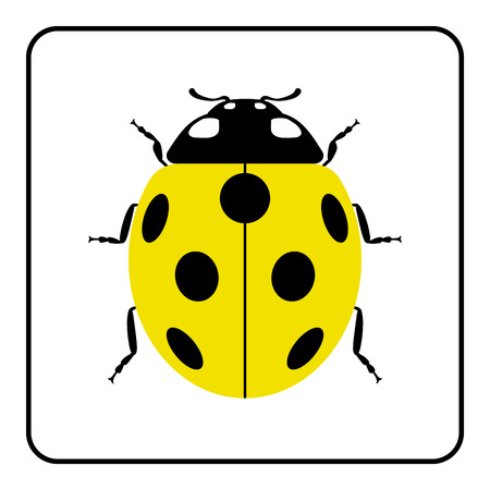critters: Ladybug small icon. Yellow lady bug sign, isolated on white background. Wildlife animal design. Cute colorful ladybird. Insect cartoon beetle. Symbol of nature, spring, summer. Vector illustration Illustration