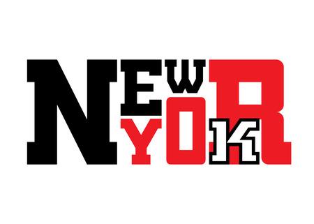team sports: Camiseta de la tipografía gráficos de Nueva York. Atlético estilo Nueva York. impresión elegante de la moda de ropa deportiva. Negro emblema rojo blanco. Plantilla para la ropa, tarjeta, etiqueta, el cartel. Símbolo gran ciudad. ilustración vectorial
