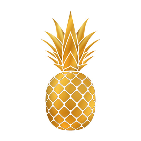 Pineapple gold icon. Tropical fruit, isolated on white background. Symbol of food, sweet, exotic and summer, vitamin, healthy.   3D concept. Design element Vector illustration Иллюстрация