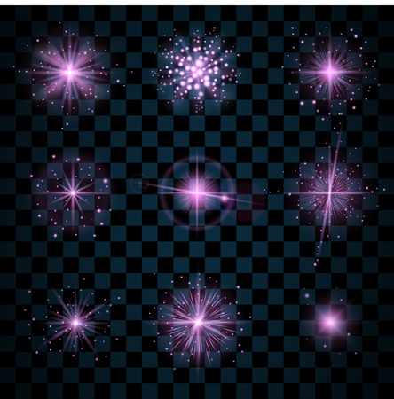 scintillation: Purple shine stars with glitters, sparkles icons set. Effect twinkle, glare, scintillation element sign, graphic light. Transparent design elements dark background. Varied template Vector illustration