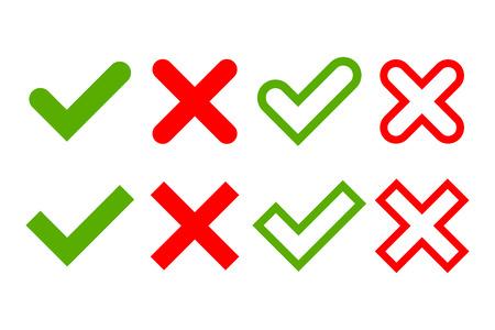 Aankruisen en steek tekenen. Groen vinkje OK en rode X pictogrammen, geïsoleerd op een witte achtergrond. Eenvoudig merken grafisch ontwerp. Circle symbolen YES en NO-knop voor stem, besluit, web. vector illustratie Stockfoto - 62778590