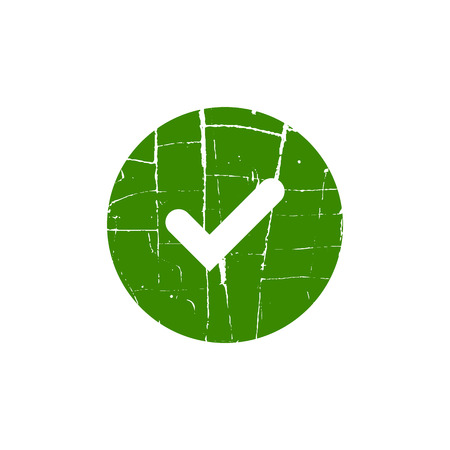accreditation: Tick sign element. Green checkmark icon isolated on white background. Simple mark design. Circle shape OK button for vote, decision, web. Symbol of correct, check, approved Vector illustration Illustration