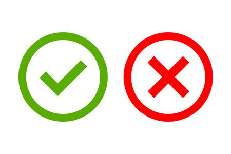 Señal y cruz signos. OK marca verde y rojo iconos X, aisladas sobre fondo blanco. marcas simples de diseño gráfico. Forma de círculo símbolos sí y no el botón de votación la decisión, web. ilustración vectorial