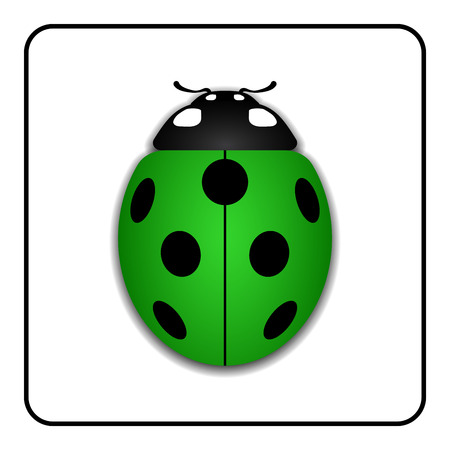 lady beetle: Ladybug small icon. Green lady bug sign, isolated on white background. 3d volume design. Cute colorful ladybird. Insect cartoon beetle. Symbol of nature, spring or summer. Vector illustration Illustration