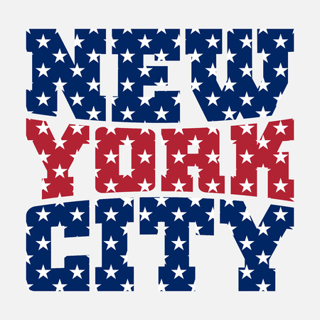 athletic wear: T shirt typography graphics New York. Athletic style NYC. Fashion american stylish print for sports wear. Color on white emblem. Template for apparel, card, poster. Symbol big city Vector illustration