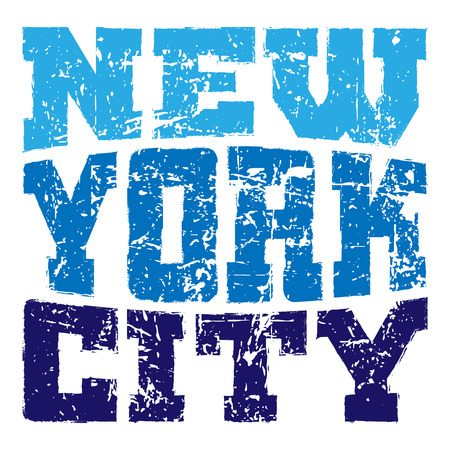 T shirt typography graphics New York. Athletic style NYC. Fashion american stylish print for sports wear. Blue on white emblem. Template for apparel, card, poster. Symbol big city. Vector illustration