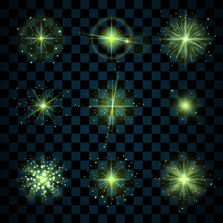 scintillation: Green shine stars with glitters, sparkles icons set. Effect twinkle, glare, scintillation element sign, graphic light. Transparent design elements dark background. Varied template. Vector illustration