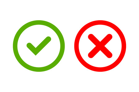 Tick and cross signs. Green checkmark OK and red X icons, isolated on white background. Simple marks graphic design. Circle symbols YES and NO button for vote, decision, web. Vector illustration