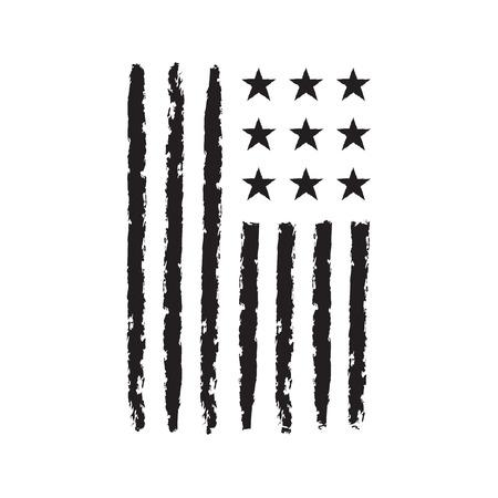 black american: American flag grunge, symbol for 4th July, Independence Day celebration. Patriotic Typography Graphics. National design. Fashion Print for sportswear apparel, t shirt, card, banner Vector illustration Illustration