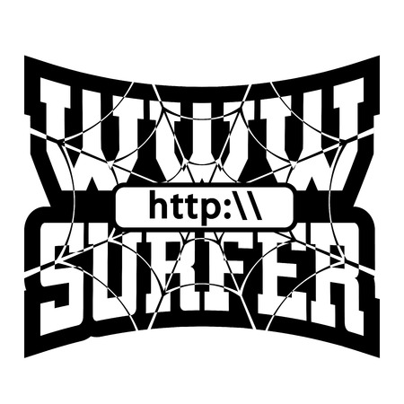 web address: WWW internet surfer t shirt typography graphics. Grunge mockup with windows address. Fashion stylish print sport wear. Template for apparel, card, poster. Symbol web browser site Vector illustration