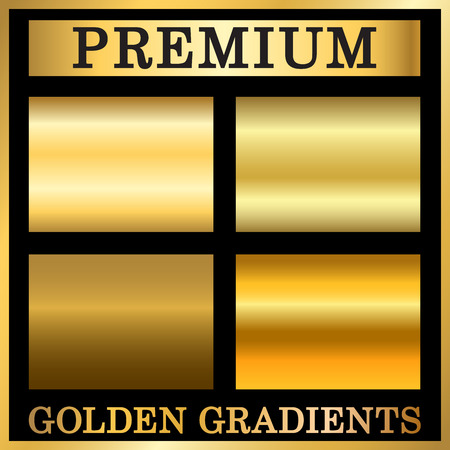 metalic design: Gold texture square patterns set. Light realistic, shiny, metallic empty golden gradient templates collection. Abstract metal decoration. Design for award, sale, background, web Vector Illustration Illustration
