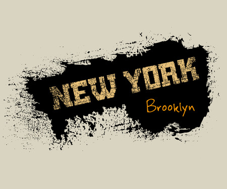 dirty t shirt: T shirt typography graphics New York. Athletic style NYC. Fashion american stylish print for sports wear. Grunge emblem. Template for apparel, card, poster. Symbol of big city. Vector illustration