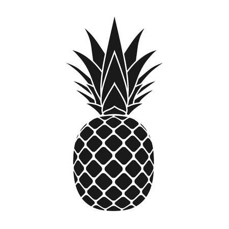 Pineapple with leaf icon. Tropical fruit isolated on white background. Symbol of food, sweet, exotic and summer, vitamin, healthy. Nature dessert. Flat concept. Design element Vector illustration