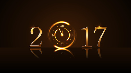 12 days of christmas: Happy New Year background with magic gold clock countdown five minute. Golden numbers 2017. Christmas night design light, glitter. Symbol of wish, celebration. Luxury decoration Vector illustration