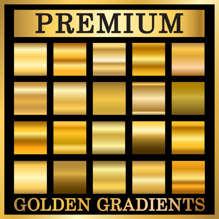 Gold texture square patterns set. Light realistic, shiny, metallic empty golden gradient templates collection. Abstract metal decoration. Design for award, sale, background, web Vector Illustration Vectores