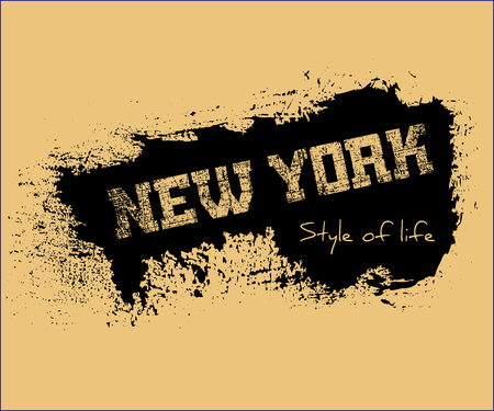 athletic wear: T shirt typography graphics New York. Athletic style NYC. Fashion american stylish print for sports wear. Grunge emblem. Template for apparel, card, poster. Symbol of big city. Vector illustration