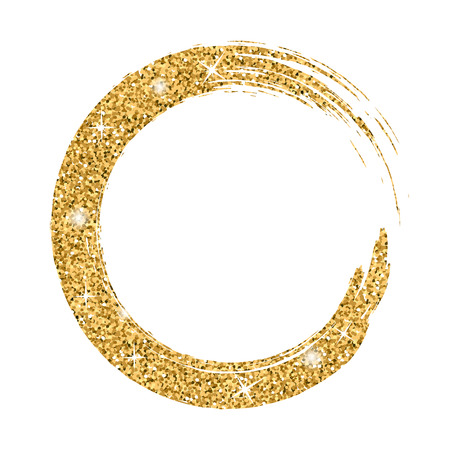 Grunge background circle gold on white. Sketch to create border. Round shape texture for banner. Golden effect. Vintage artistic graphic. Smear print copy space. Vector illustration Vektorové ilustrace