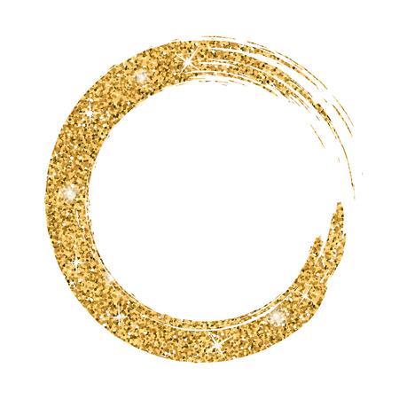 Grunge fondo círculo de oro en blanco. Boceto para crear frontera. Ronda de la textura de la bandera. efecto de oro. Gráfico artístico de la vendimia. Frotis de espacio de la copia impresa. ilustración vectorial Ilustración de vector