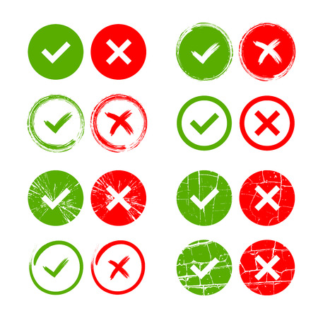 x marks: Tick and cross signs. Green checkmark OK and red X icons, isolated on white background. Grunge marks graphic design. Circle symbols YES and NO button for vote, decision, web. Vector illustration Illustration