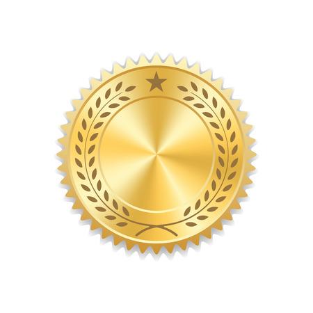 Sigillare icona oro premio. medaglia in bianco con corona di alloro, isolato su sfondo bianco. emblema d'oro. Simbolo di garanzia, vincitore, garanzia e migliore etichetta, premium, di qualità. illustrazione di vettore Vettoriali