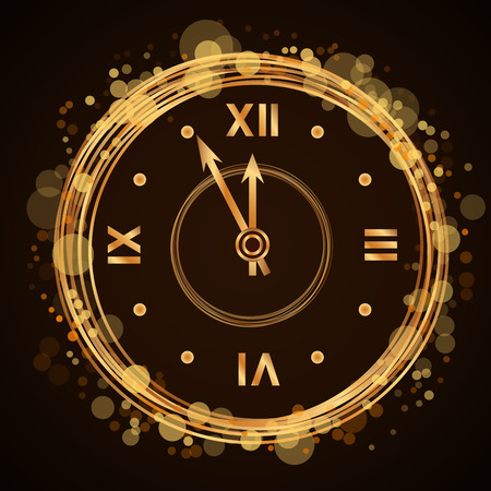 five to twelve: Gold christmas magic clock background. Golden shiny design with sparkles and glitter. Decoration for card, greeting. Symbol of Happy New Year 2017 holiday, countdown. Vector illustration