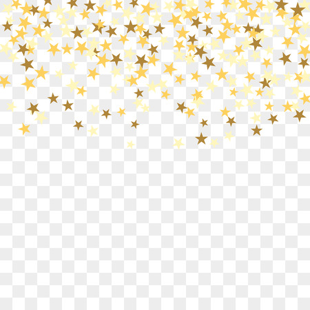 Gold star confetti celebration, isolated on transparent background. Falling golden abstract decoration for party, birthday celebrate, anniversary or event, festive. Festival decor. Vector illustration