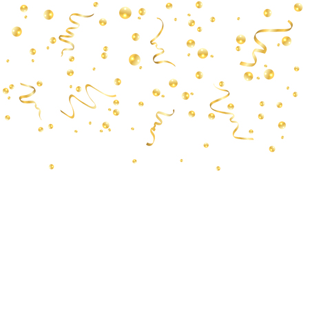 Gold confetti celebration, isolated on white background. Falling golden abstract decoration for party, birthday celebrate, anniversary or event, festive. Festival decor. Vector illustration
