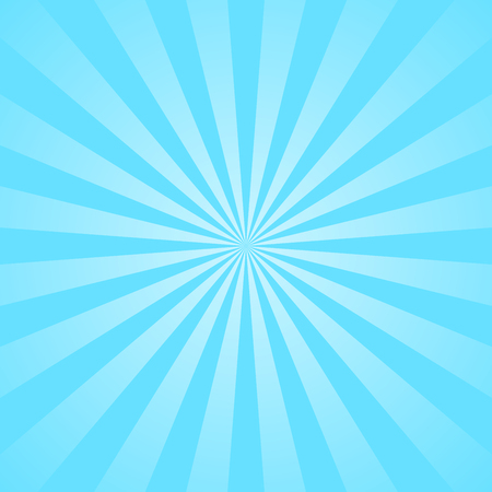 Blue rays poster. Popular ray star burst background television vintage. Dark-blue and light-blue abstract texture with sunburst, flare, beam. Retro art design. Glow bright pattern. Vector Illustration