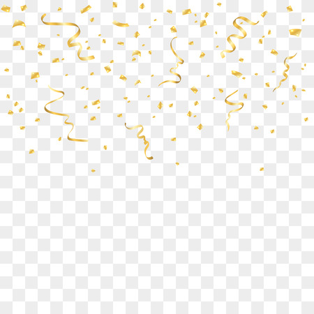 Gold confetti celebration isolated on transparent background. Falling golden abstract decoration for party, birthday celebrate, anniversary or event, festive. Festival decor. Vector illustration Reklamní fotografie - 65029386