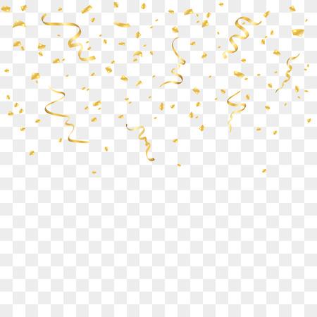 Gouden confetti geïsoleerd op een transparante achtergrond. Dalende gouden abstracte decoratie voor partij, verjaardag, jubileum of gebeurtenis, feestelijk. Festival decor. vector illustratie Stockfoto - 65029386